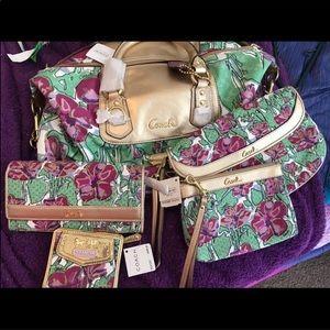 Coach 6pc NWT Ashley crossbody wallet purple HOST